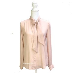Soft Pink Long Slevee Button Up Bouse Bow | XS